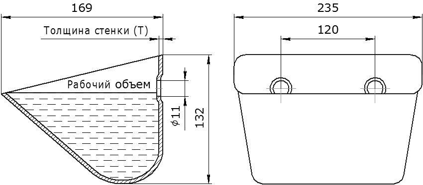 Ковш норийный металлический цельнотянутый JET 23-160 чертеж