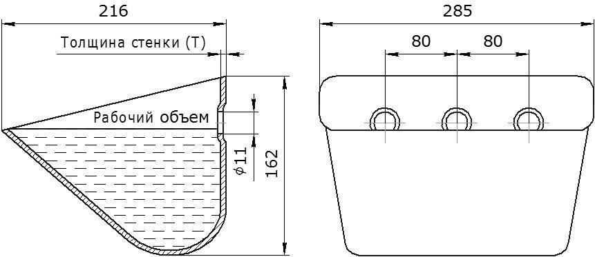 Ковш норийный металлический цельнотянутый JET 28-215 чертеж