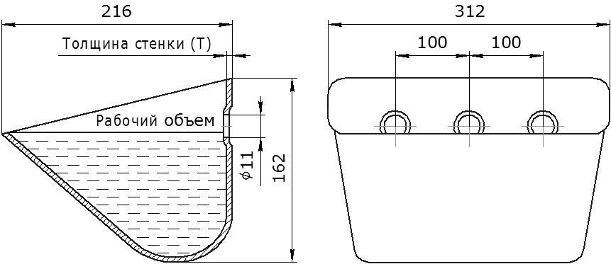 Ковш норийный металлический цельнотянутый JET 30-215 чертеж