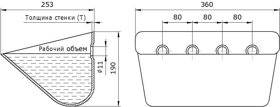 Ковш норийный металлический цельнотянутый JET 35-250 чертеж