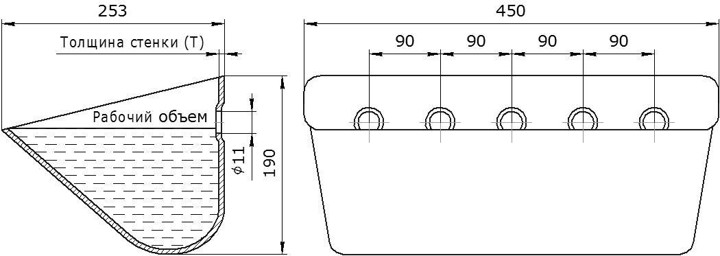 Ковш норийный металлический цельнотянутый JET 44-250 чертеж