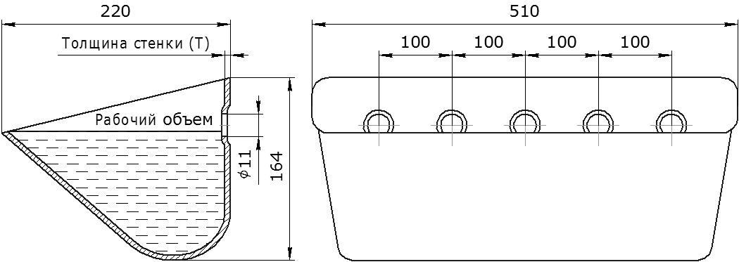 Ковш норийный металлический цельнотянутый JET 50-215B чертеж