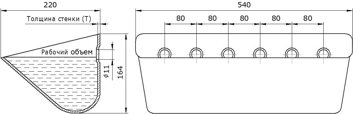 Ковш норийный металлический цельнотянутый JET 53-215 чертеж