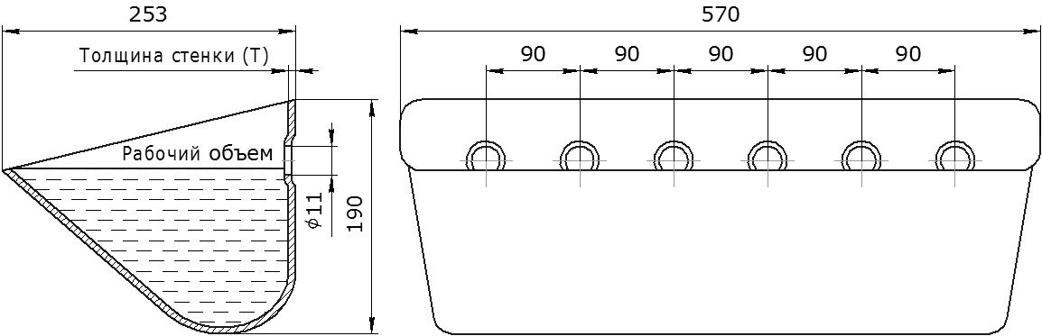 Ковш норийный металлический цельнотянутый JET 56-250 чертеж
