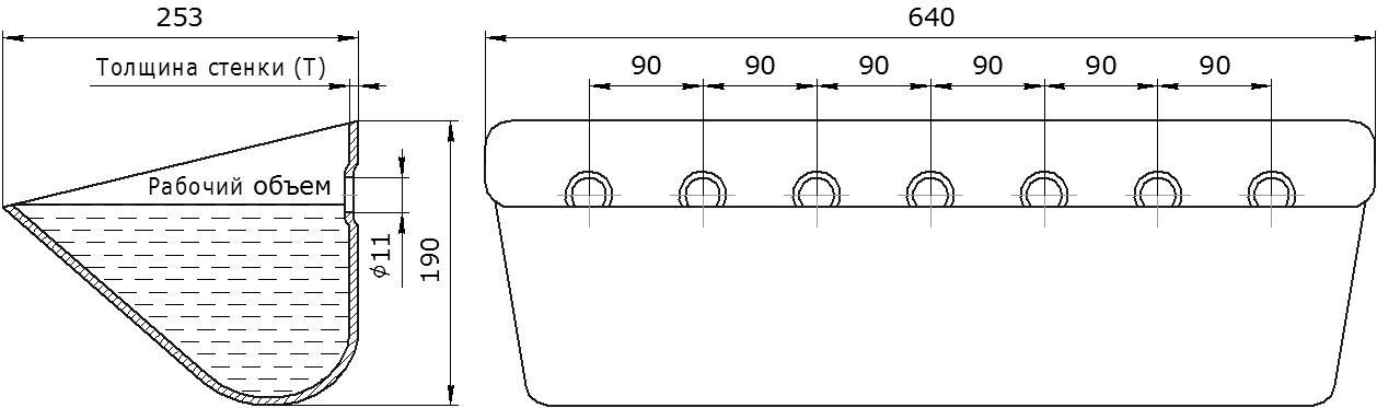 Ковш норийный металлический цельнотянутый JET 63-250 чертеж