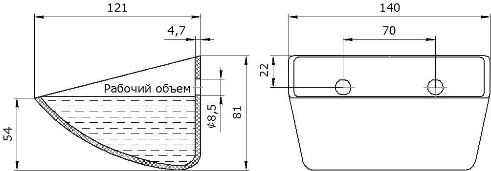 Ковш норийный полимерный S 130-120 HDP-MD чертеж