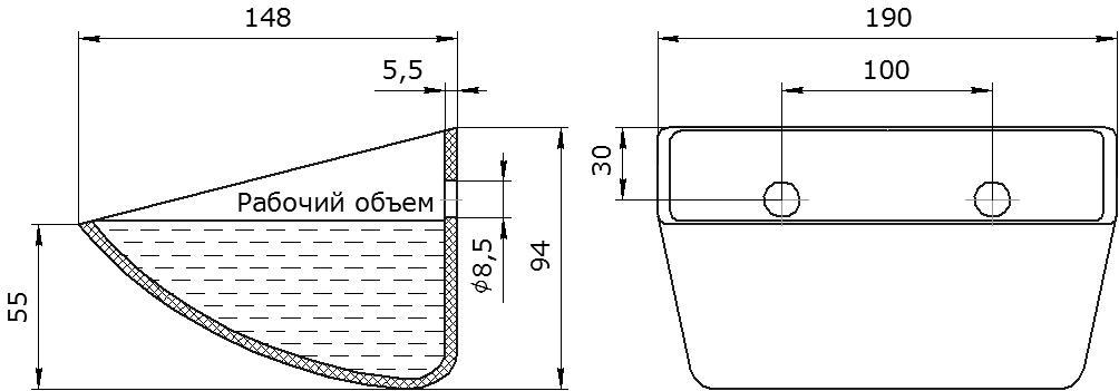 Ковш норийный полимерный S 180-140 HDP-MD чертеж