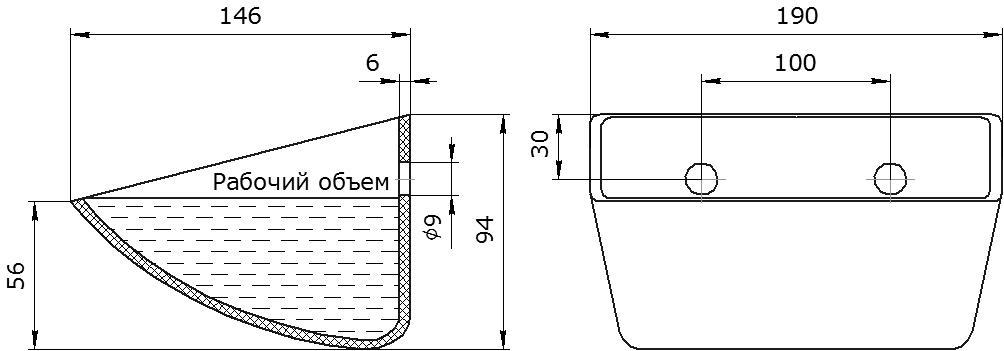 Ковш норийный полимерный S 180-140 HDP чертеж
