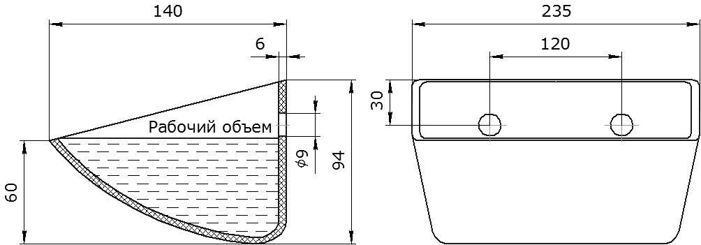 Ковш норийный полимерный S 225-140 HDP чертеж