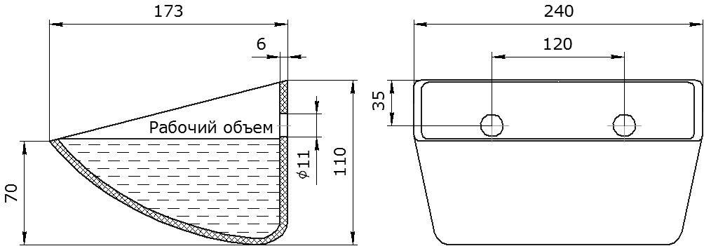 Ковш норийный полимерный S 230-170 HDP чертеж