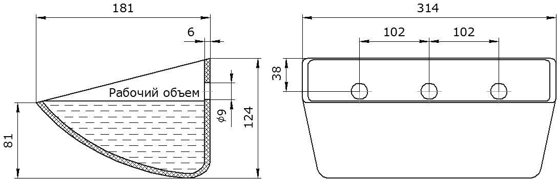 Ковш норийный полимерный S 300-180 HDP чертеж