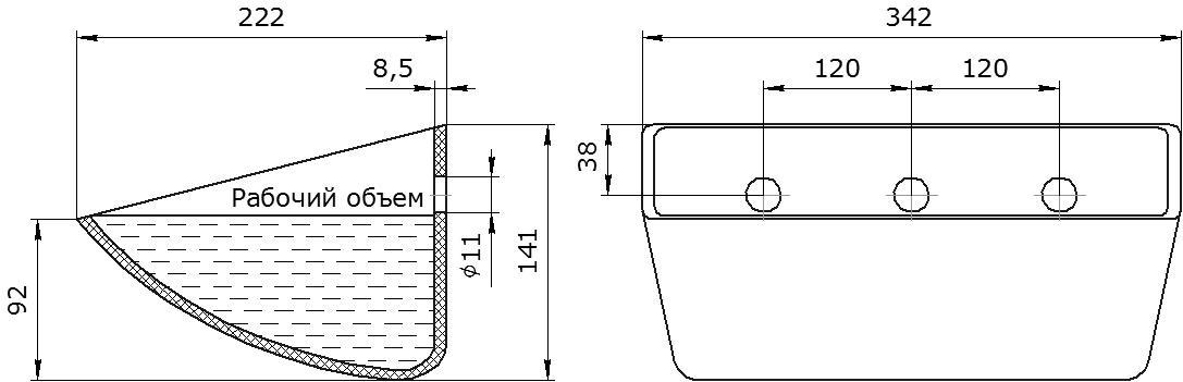 Ковш норийный полимерный S 330-215 HDP чертеж