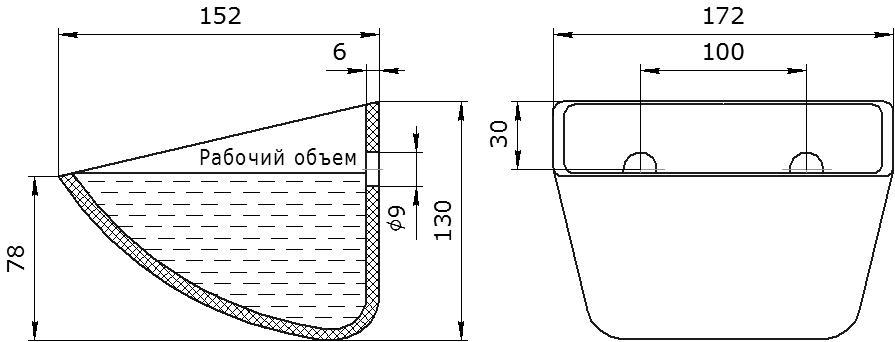 Ковш норийный полимерный SPS 160-140 HDP чертеж