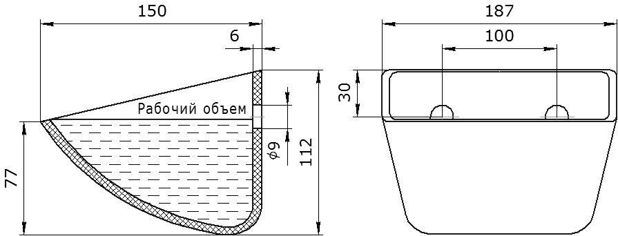 Ковш норийный полимерный SPS 180-140 HDP чертеж