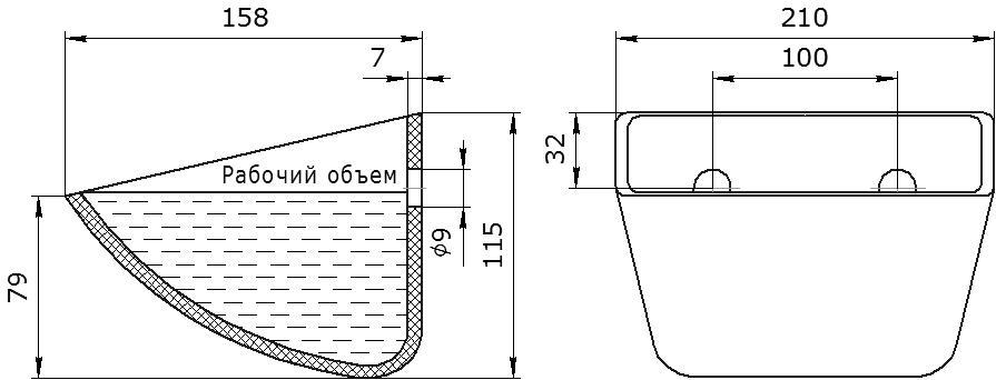 Ковш норийный полимерный SPS 200-160 HDP чертеж