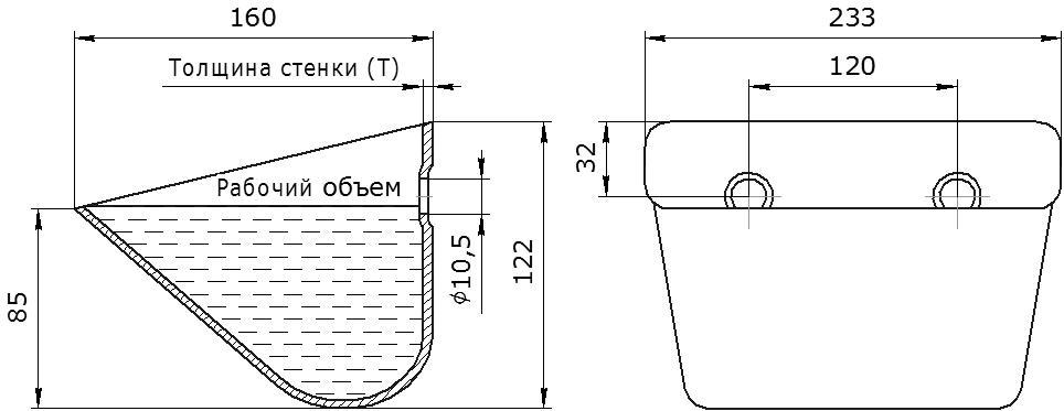 Ковш норийный металлический цельнотянутый SPS 230-160/В чертеж