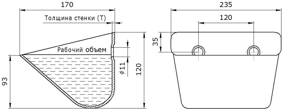 Ковш норийный металлический цельнотянутый SPS 230-170 чертеж