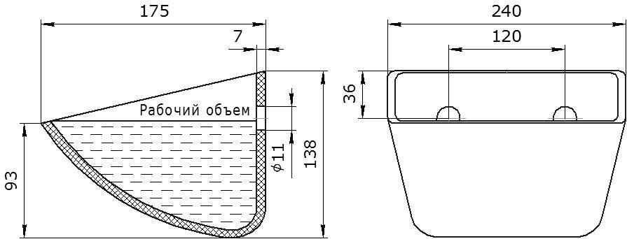 Ковш норийный полимерный SPS 230-170 HDP чертеж