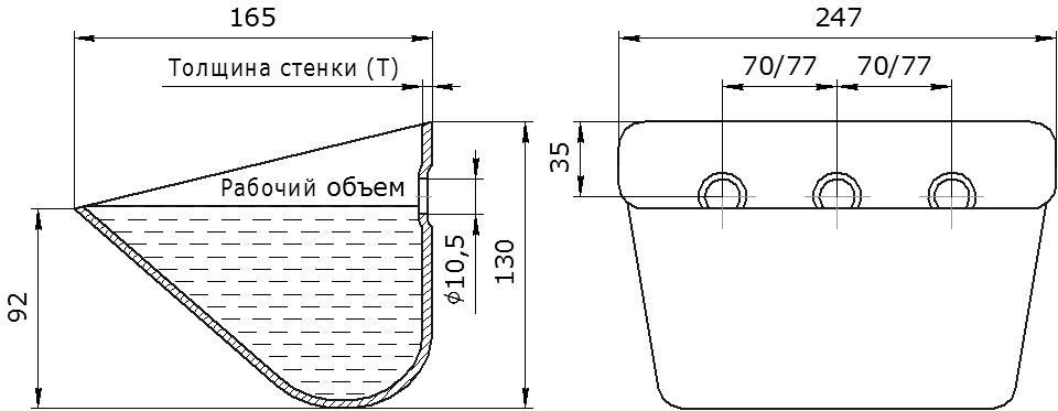 Ковш норийный металлический цельнотянутый SPS 240-160/А чертеж
