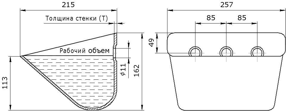 Ковш норийный металлический цельнотянутый SPS 250-215 чертеж