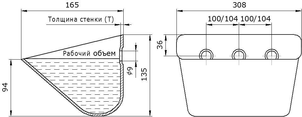Ковш норийный металлический цельнотянутый SPS 300-165/А чертеж