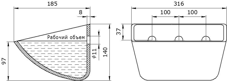 Ковш норийный полимерный SPS 300-180 HDP чертеж
