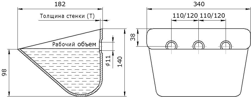 Ковш норийный металлический цельнотянутый SPS 330-180 чертеж