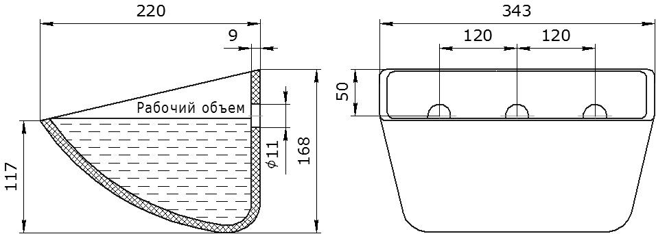 Ковш норийный полимерный SPS 330-215 HDP чертеж