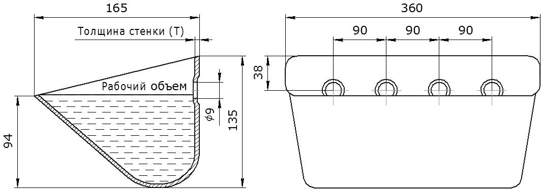 Ковш норийный металлический цельнотянутый SPS 350-165/А чертеж