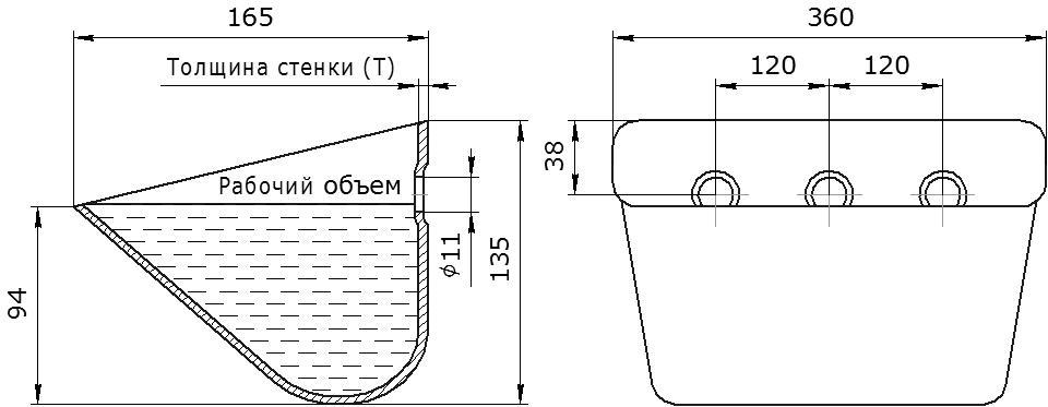 Ковш норийный металлический цельнотянутый SPS 350-165/В чертеж