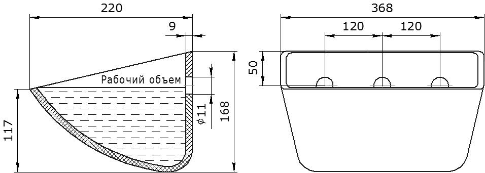 Ковш норийный полимерный SPS 350-215/A HDP чертеж