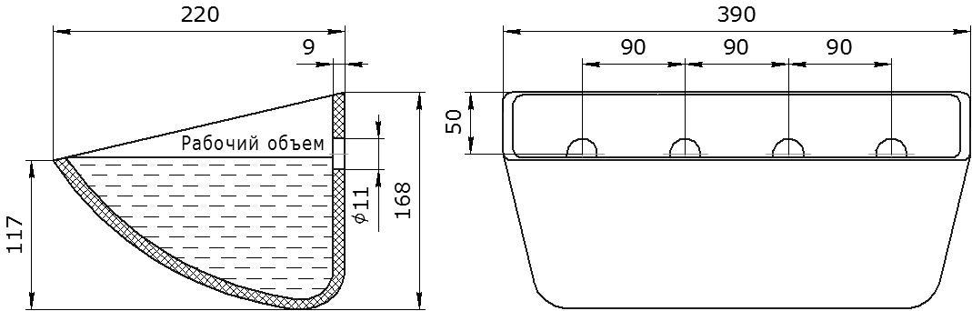 Ковш норийный полимерный SPS 370-215 HDP чертеж