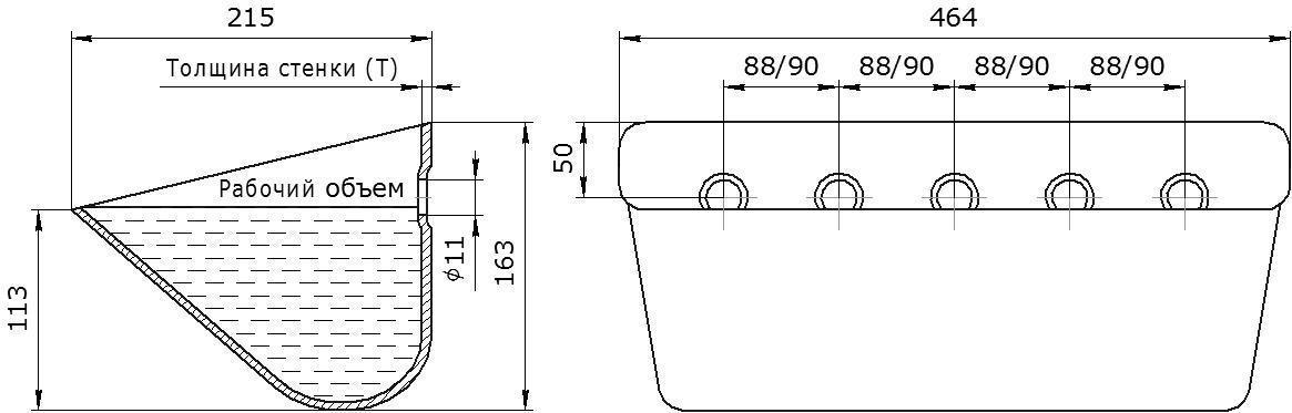 Ковш норийный металлический цельнотянутый SPS 450-215 чертеж