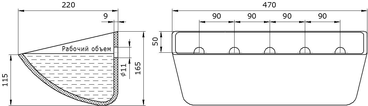 Ковш норийный полимерный SPS 450-215 HDP чертеж