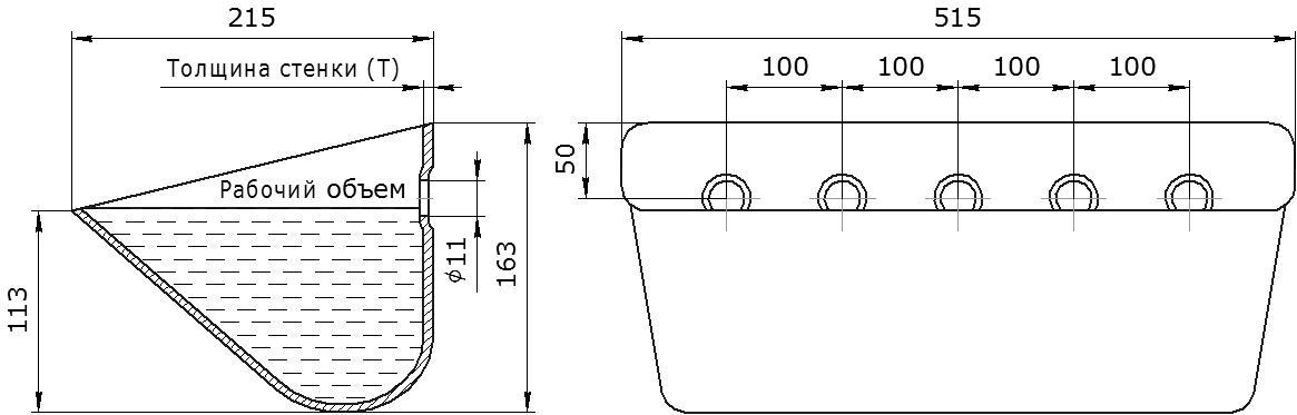 Ковш норийный металлический цельнотянутый SPS 500-215 чертеж