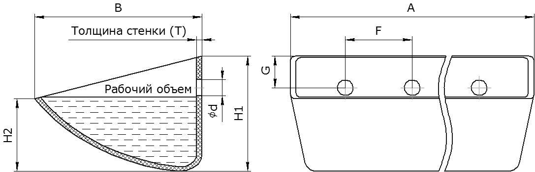 Ковш норийный полимерный Starco S чертеж