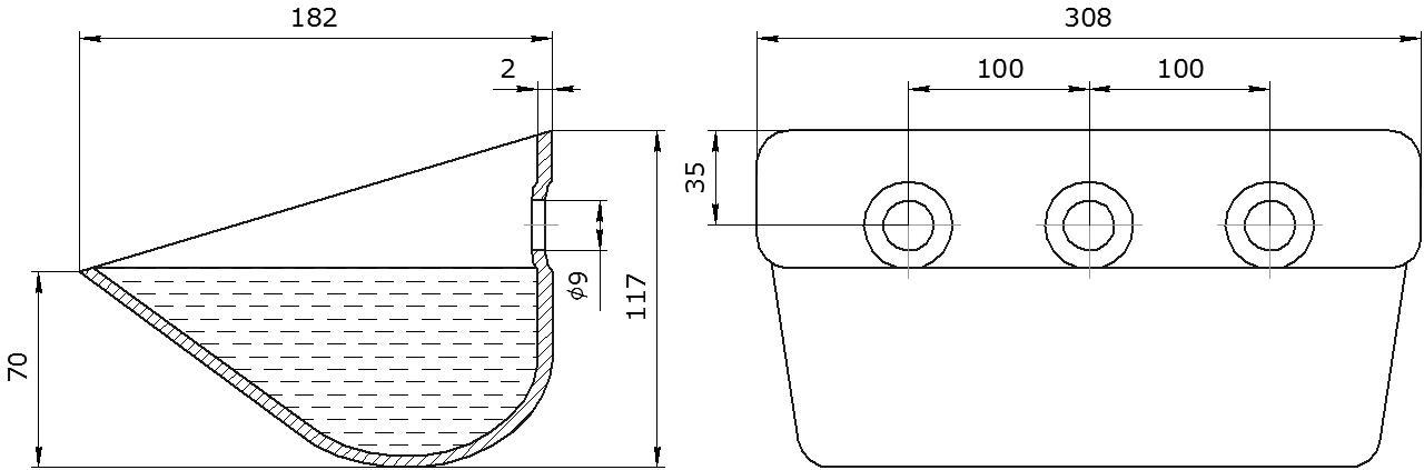 Ковш норийный металлический цельнотянутый S 300-180 чертеж