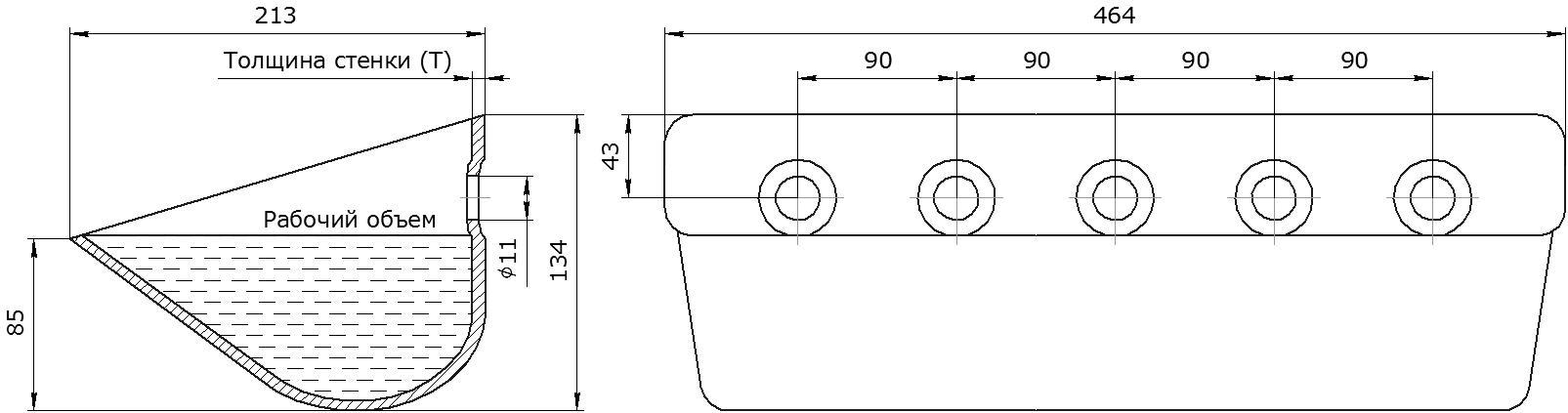Ковш норийный металлический цельнотянутый S 450-215 чертеж